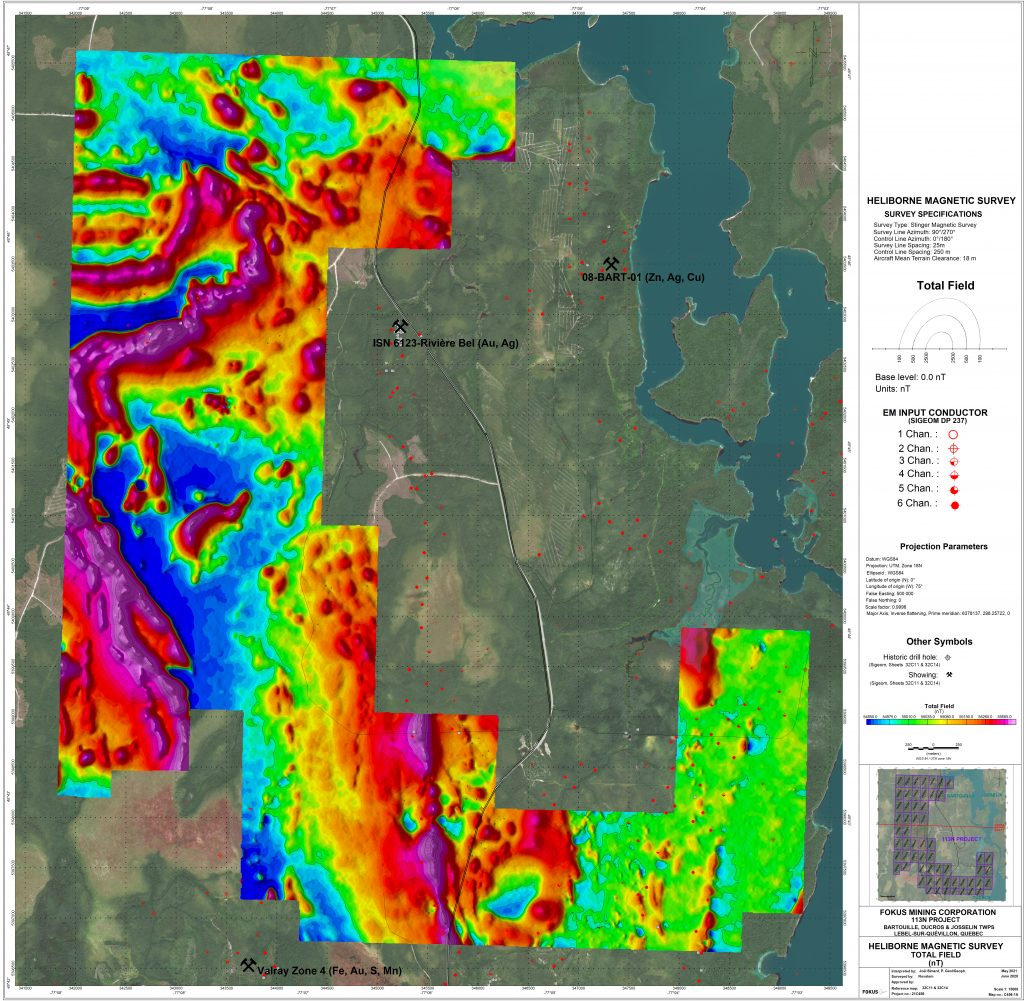 113 North project Drilling Map - Mosaic Minerals Corp