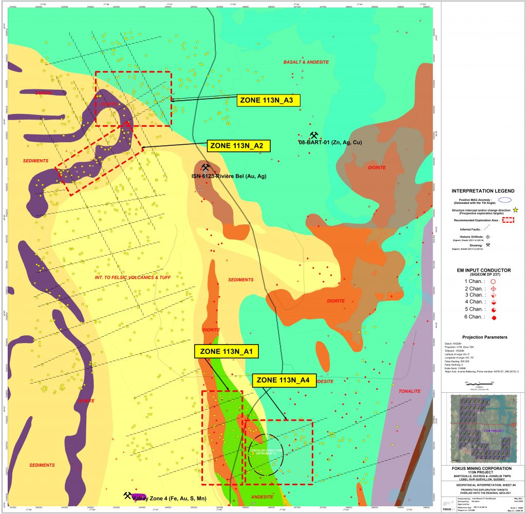 113 North mining Exploration Project map - Mosaic Minerals corp