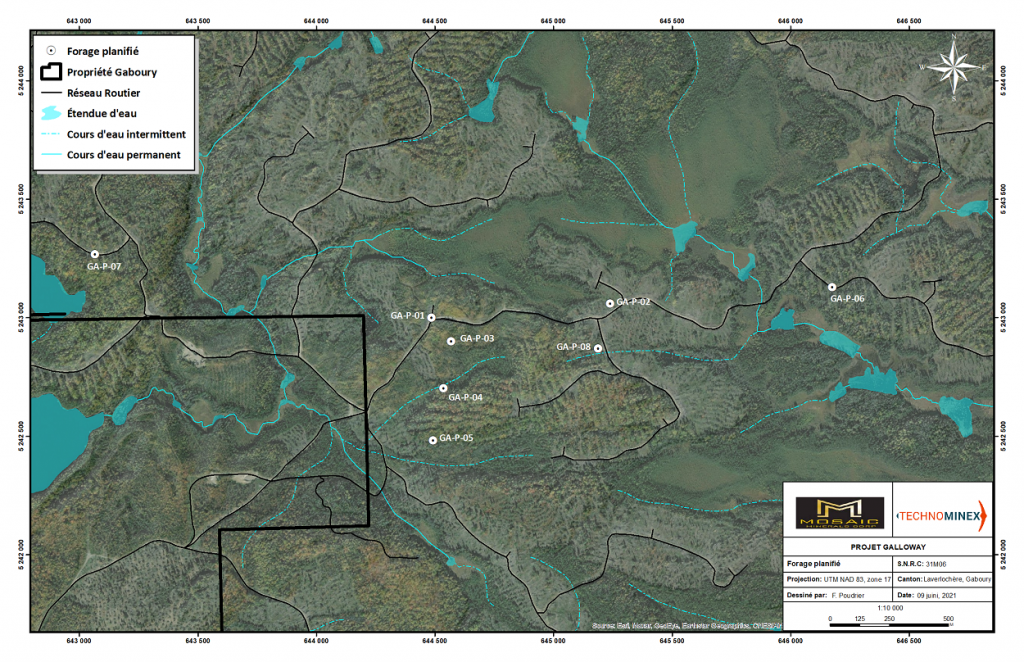 Gaboury Exploration Project Drilling Planification Map - Mosaic Minerals corp